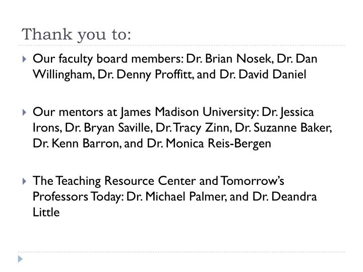 Thank you to:
