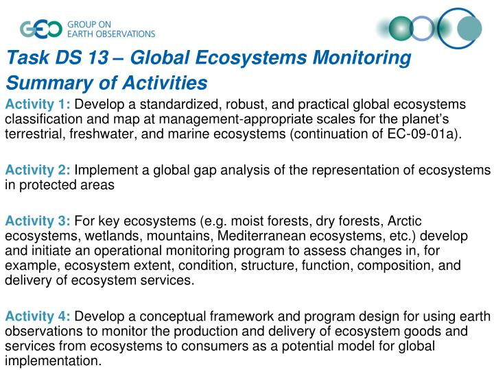 Task DS 13 – Global Ecosystems Monitoring