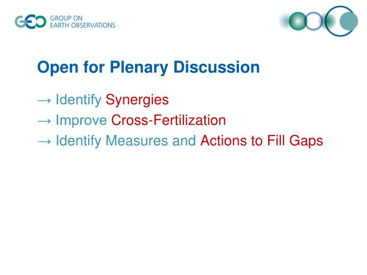 Open for Plenary Discussion