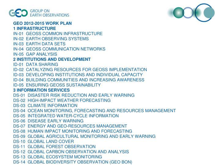 GEO 2012-2015 WORK PLAN