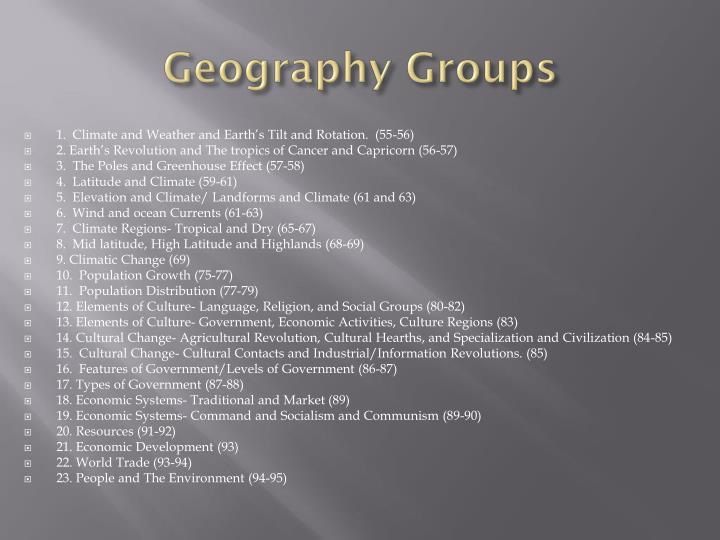 Geography Groups