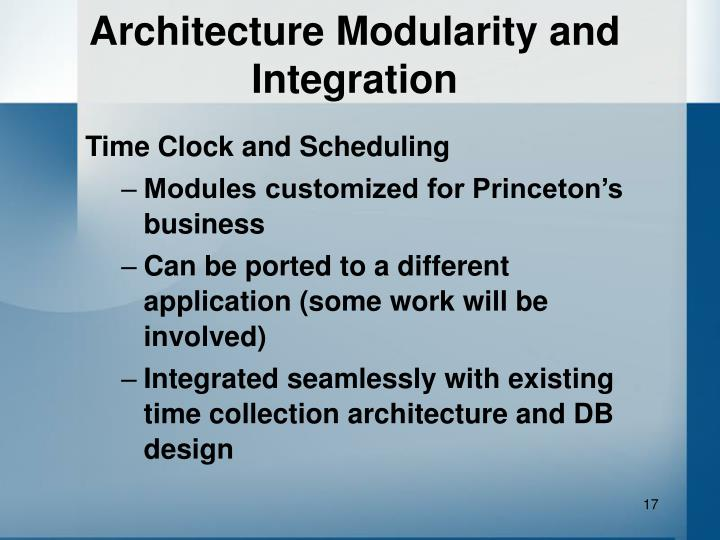 Architecture Modularity and Integration