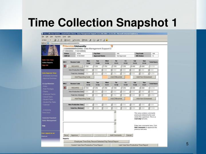 Time Collection Snapshot 1