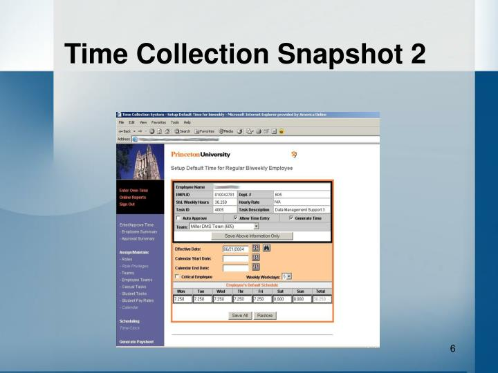 Time Collection Snapshot 2