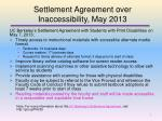 settlement agreement over inaccessibility may 2013