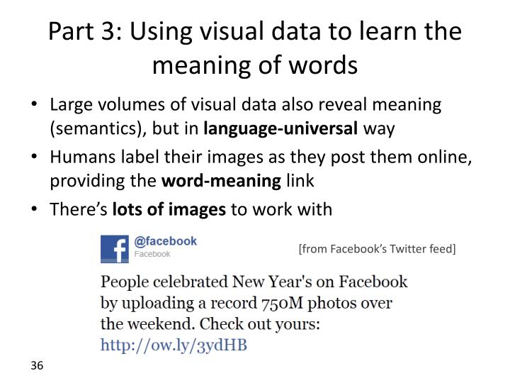 Part 3: Using visual data to learn the meaning of words