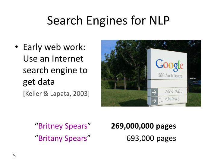 Search Engines for NLP