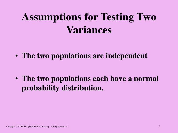 Assumptions for testing two variances