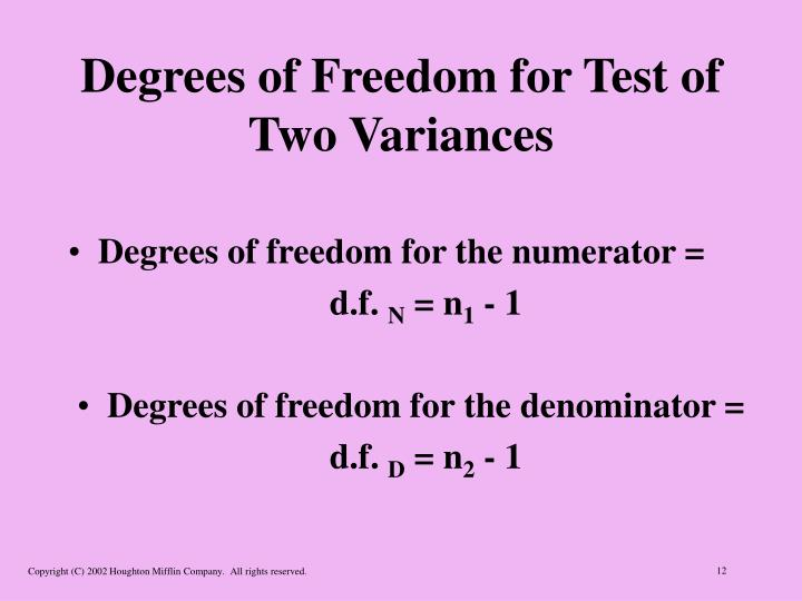 Degrees of Freedom for Test of Two Variances