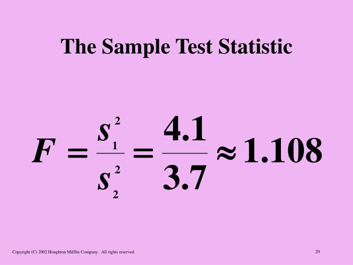 The Sample Test Statistic