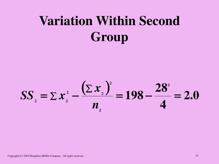 Variation Within Second Group