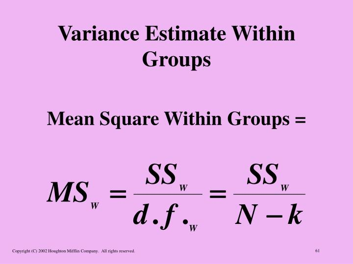 Variance Estimate Within Groups