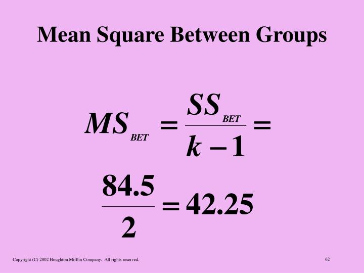 Mean Square Between Groups