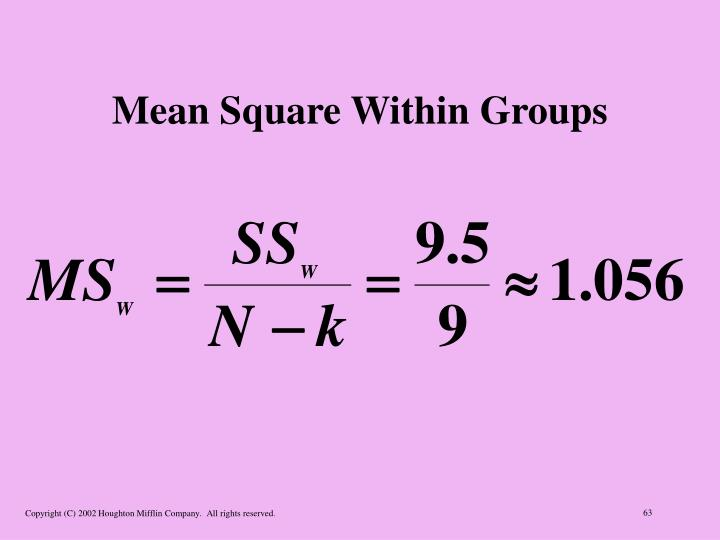 Mean Square Within Groups
