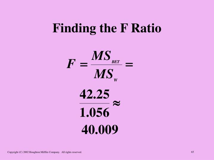 Finding the F Ratio