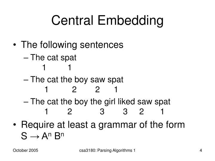 Central Embedding