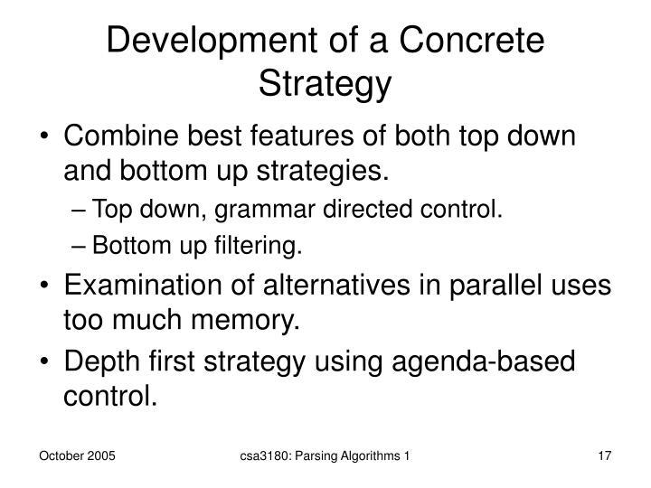 Development of a Concrete Strategy