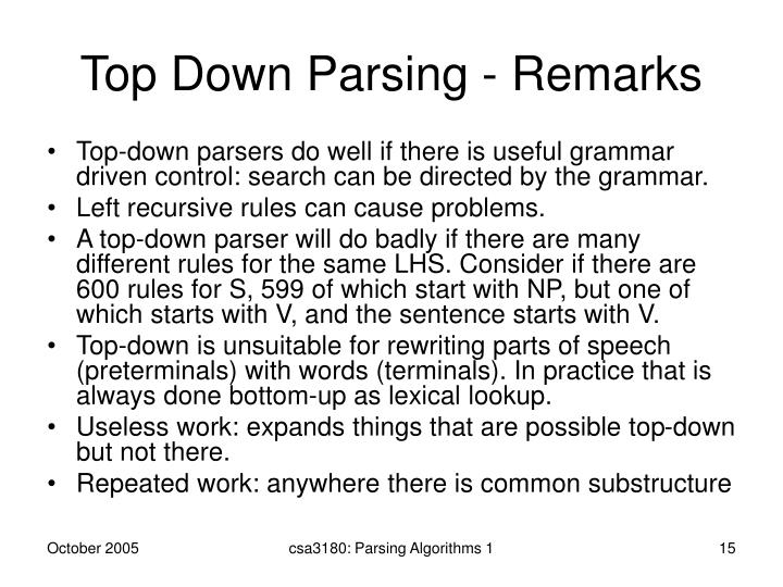 Top Down Parsing - Remarks
