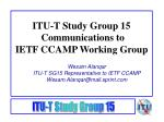 itu t study group 15 communications to ietf ccamp working group1