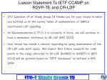 liaison statement to ietf ccamp on rsvp te and cr ldp