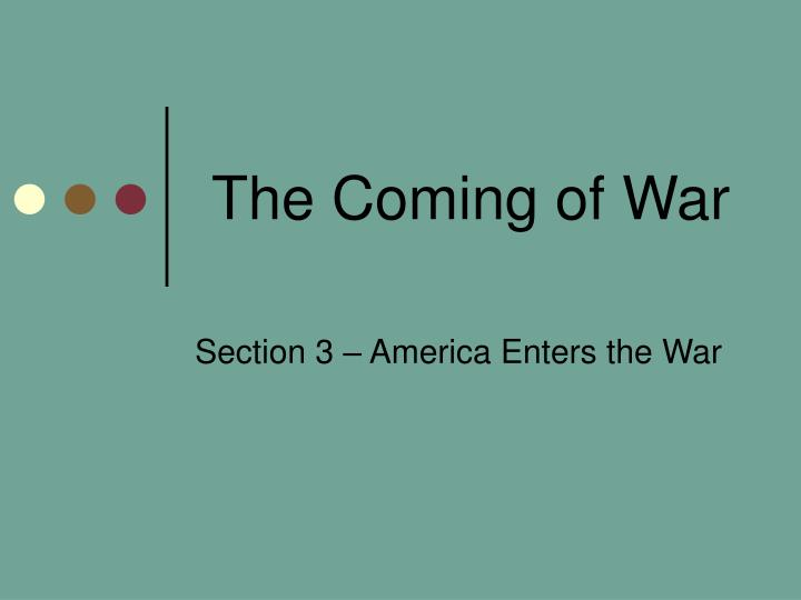 the coming of war n.