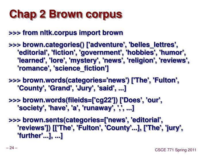 Chap 2 Brown corpus