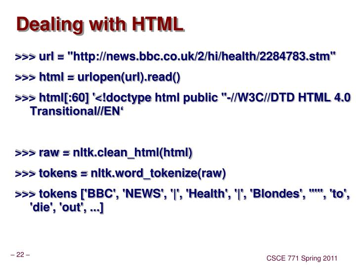 Dealing with HTML