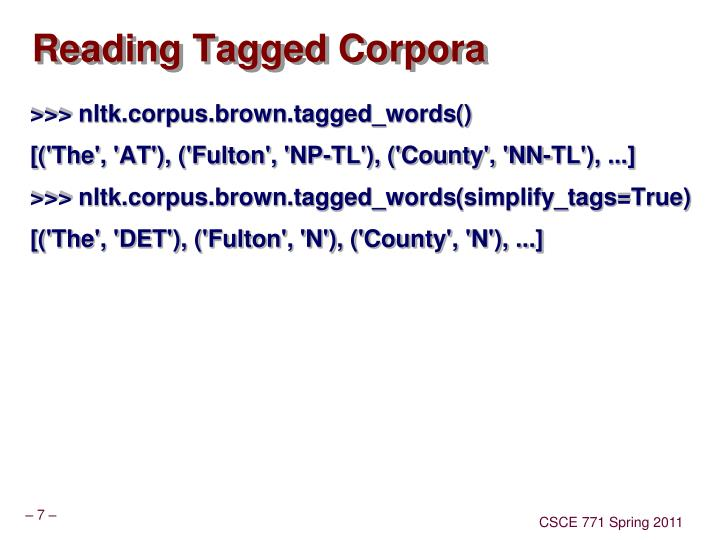 Reading Tagged Corpora