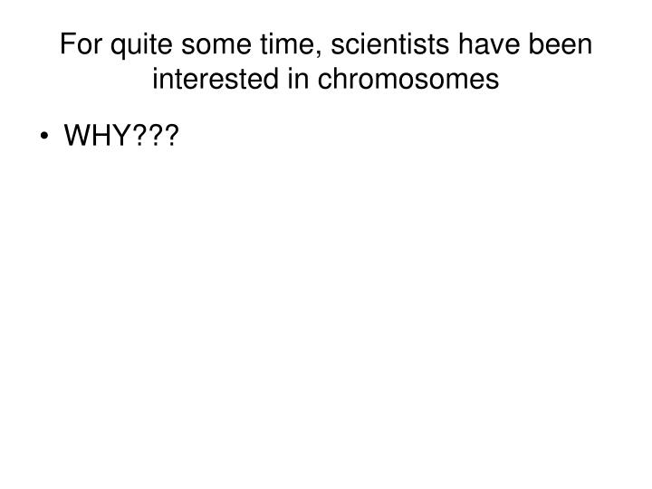 for quite some time scientists have been interested in chromosomes n.
