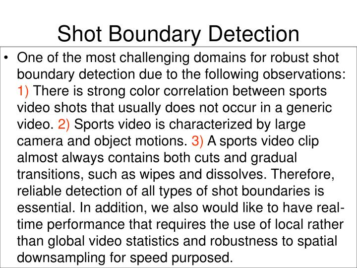 Shot Boundary Detection