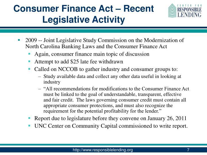 Consumer Finance Act – Recent Legislative Activity