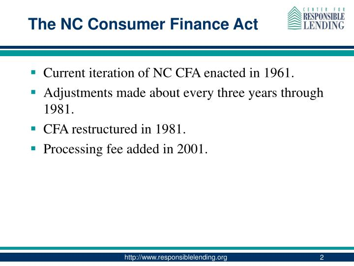 The nc consumer finance act