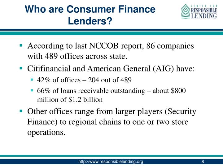 Who are Consumer Finance Lenders?