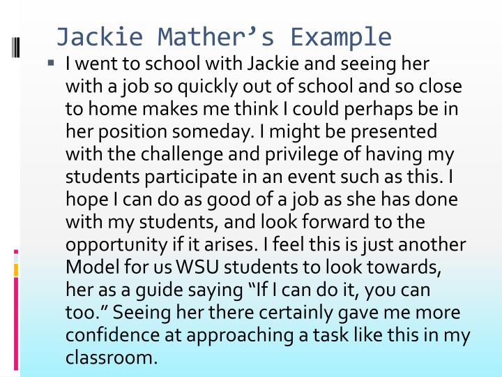 Jackie Mather's Example