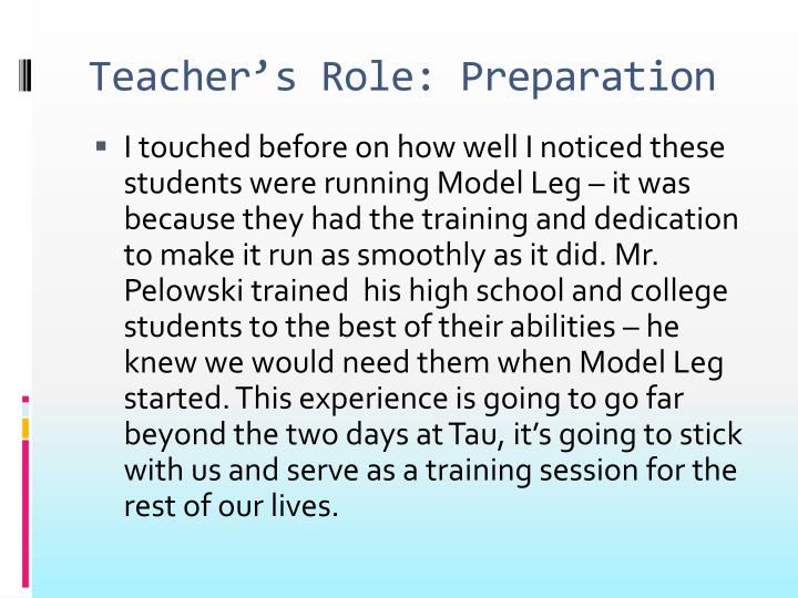 Teacher's Role: Preparation