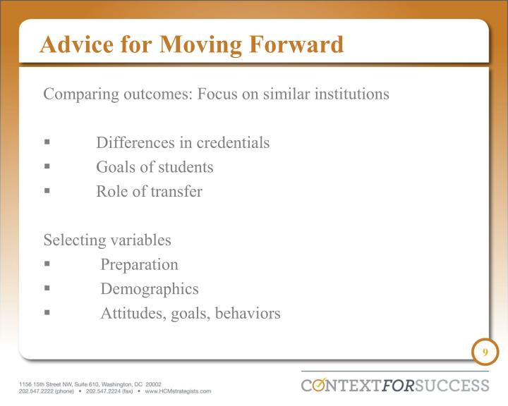 Advice for Moving Forward