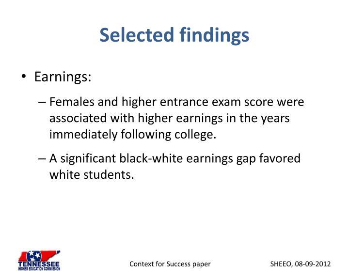 Selected findings