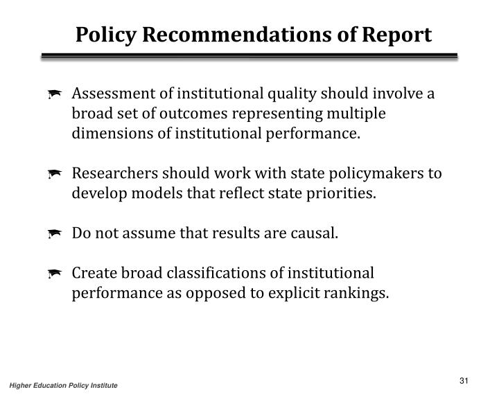 Policy Recommendations of Report