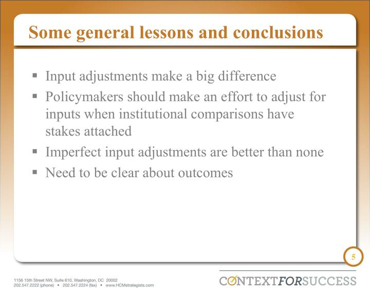 Some general lessons and conclusions