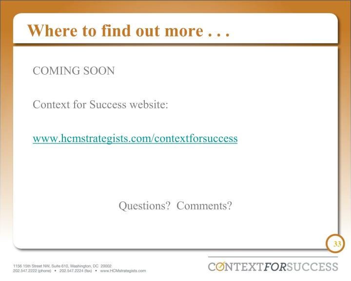 Where to find out more . . .