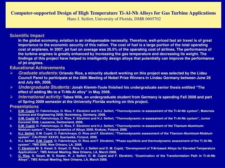 Computer-supported Design of High Temperature Ti-Al-Nb Alloys for Gas Turbine Applications