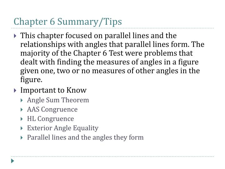 Chapter 6 Summary/Tips