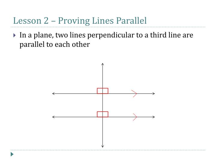 Lesson 2 – Proving Lines Parallel