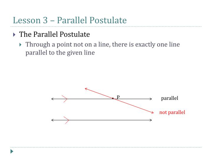 Lesson 3 – Parallel Postulate