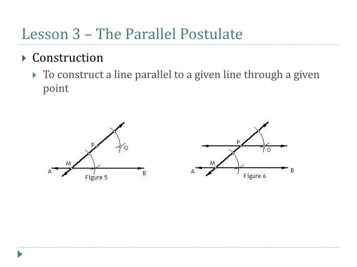 Lesson 3 – The Parallel Postulate
