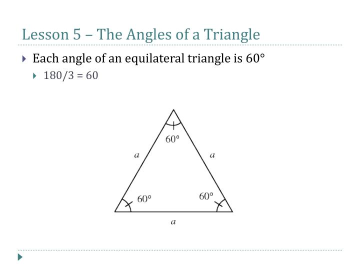 Lesson 5 – The Angles of a Triangle
