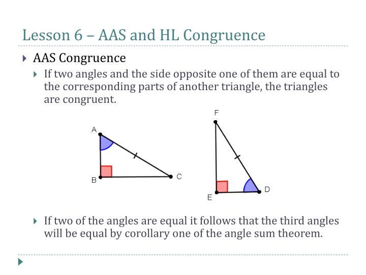 Lesson 6 – AAS and HL Congruence