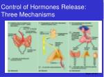 control of hormones release three mechanisms