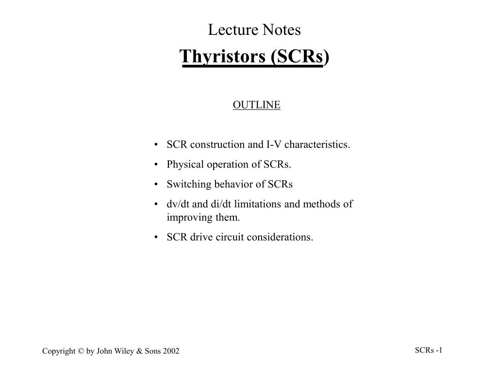 Ppt Thyristors Scrs Powerpoint Presentation Id5493521 Scr Need For In Power Electronic Circuits Electrical Slide1 N