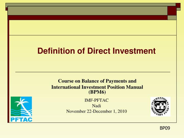 Direct investment definition imf warren buffett wife investment property